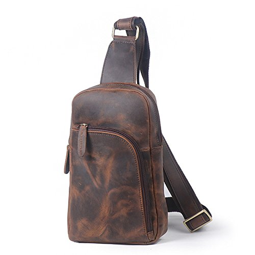 Color Brown Shoulder Men Sports Backpack Casual Bags Messenger Waterproof Ybriefbag Chest for Sling Leather Bag Bag Men's Coffee Outdoor Crossbody Women gnwWHq8U