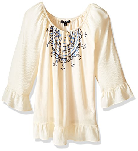 My Michelle Big Girls' Peasant Blouse with Tie Front and ...