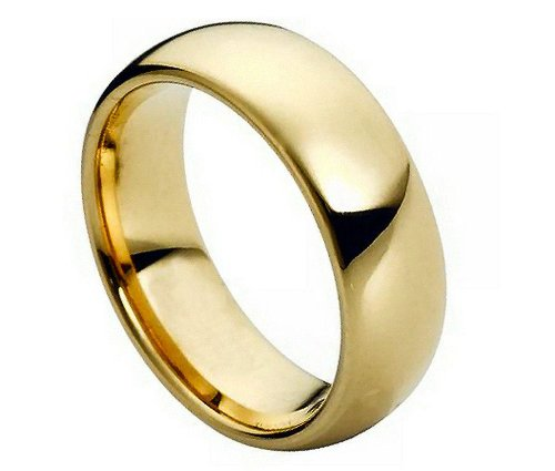 18K Yellow Gold Plated 7MM Tungsten Carbide Domed Center Wedding Band Ring 435GP-7.5