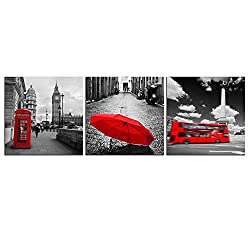NAN Wind 3 Panels Black and White Pairs Eiffel Tower with Red Umbrella London's Big Ben Clock with Red Bus Canvas Wall Art Paintings on Canvas Stretched and Framed Ready to Hang for Home Decor
