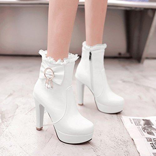 Plattform Heel Weiß Damen Mit Hohe Agodor Reißverschluss Schnürstiefeletten Winterschuhe Süße Chunky Schleife mit A5I7q