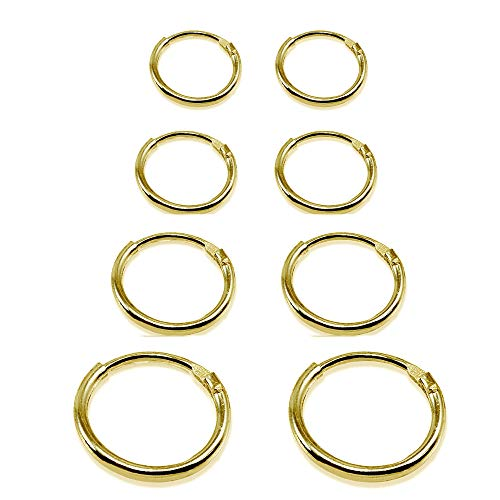 4 Pair Set Yellow Gold Flash Sterling Silver 10mm, 12mm, 14 & 16mm Tiny Small Lightweight Thin Round Continuous Endless Unisex Hoop Earrings