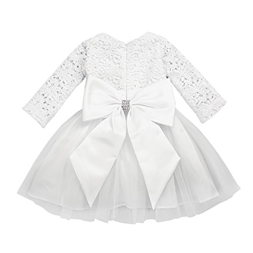 FEESHOW Baby Girls Long Sleeve Crochet Lace Flower Baptism Dress Big Bowknot Party Christening Gown Lace Ivory 0-3 Months ()