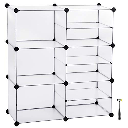 SONGMICS Cube Storage, Interlocking Plastic Cubes Organizer with Divider Design, Modular Closet Cabinet, Bookcase for Closet Bedroom Kid's Room, Includes Rubber Mallet, White, ULPC36W by SONGMICS