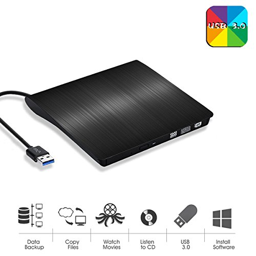External CD Drive,USB 3.0 Ultra Slim Portable DVD Rom +/-RW Drive Player for Laptop Notebook PC Desktop Computer by Le tide
