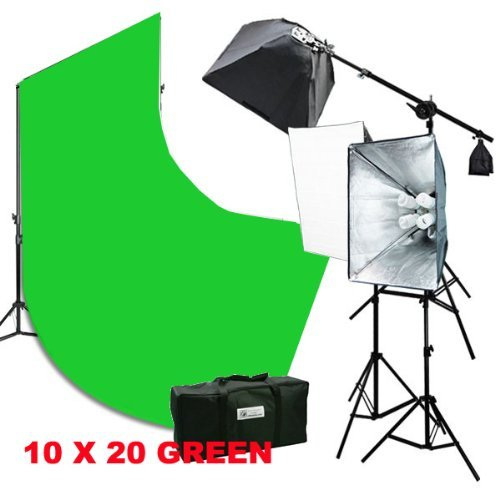 2400 Watt Photography Studio Video Light Lighting 10x20 Green Screen Background Stands Case Kits by ePhotoInc H9004SB2-1020G by ePhotoinc