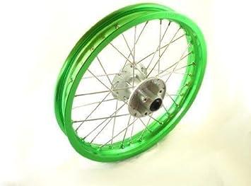 HMParts Pit Bike Dirt Bike Cross Alu Felge Eloxiert 12 Zoll vorne Grün