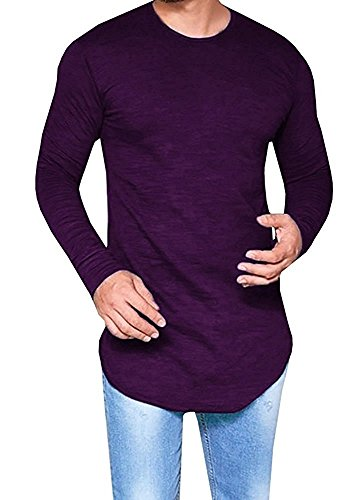 Makkrom Mens Hipster Slim Fit Long Sleeve Stretchy T Shirt Solid Pullover ()