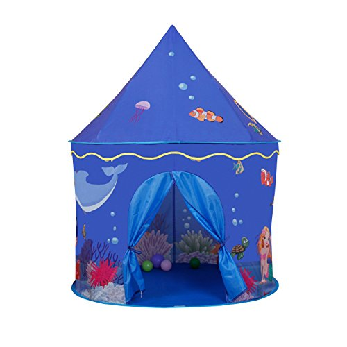 Children Play Tent - Premium Ccean Sea Castle Pop Up Kids Playhouse by Wonder Space, Comes with Free Carrying Case, Best Indoor/Outdoor Gift for Boys and Girls - Blue Sea House
