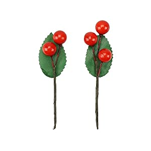 Shxstore Artificial Red Holly Leaves Berry Picks Stems Fake Winter Christmas Berries Decor For DIY Garland And Holiday Wreath Ornaments, 24 Branch 2