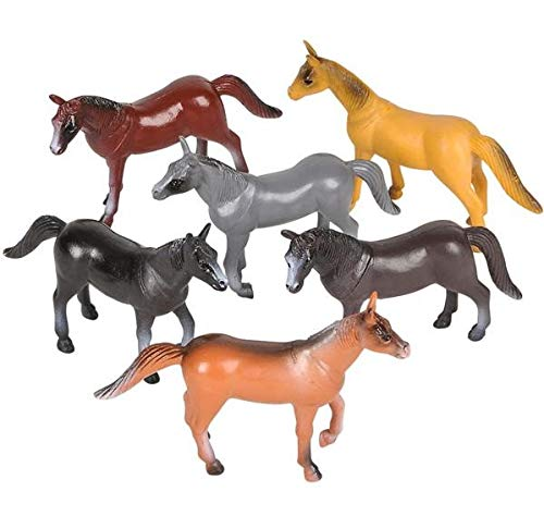 Rhode Island Novelty 4 Inch Plastic Horse Figures | Set of 12 | Assorted Colors