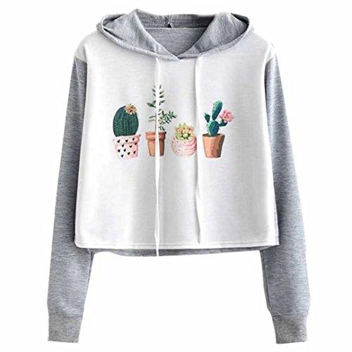 l Cactus Print Hoodies Sweatshirts Juniors Long Sleeve Tops ()