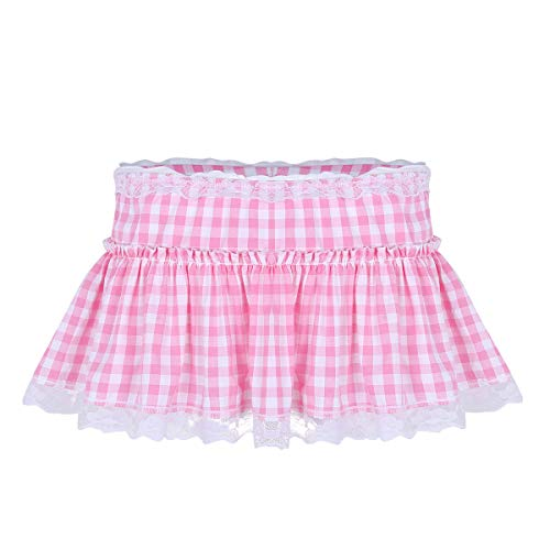 Lace Ruffled Mini Skirt - ACSUSS Sissy Adult Mens Ruffled Lace Openwork Girly Crossdressing Micro Mini Skirt Pink Medium
