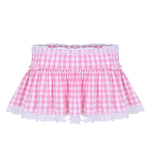 ACSUSS Sissy Adult Mens Ruffled Lace Openwork Girly Crossdressing Micro Mini Skirt Pink Medium