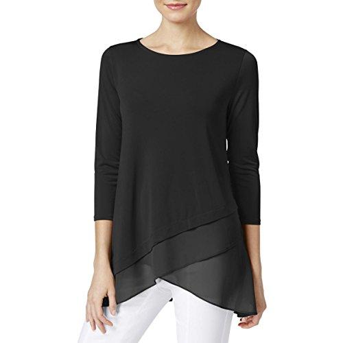 - Alfani Womens Matte Jersey Layered Casual Top Black XL