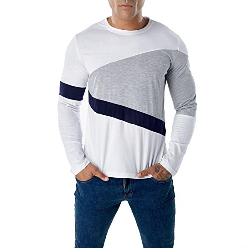 Wintialy Fashion Men's Casual Patchwork Slim Long Sleeve T Shirt Muscle Top Blouse White -