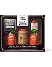 Thoughtfully Gifts, DIY Bloody Mary Cocktail Gift Set, Includes Two Mason Jars with Handles, Bloody Mary Mix, Celery Salt and Hot Sauce