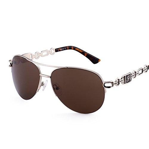 (Fenchi Sunglasses For Women Driving Aviator Stereoscop Classic Vintage Eyewear Sunglasses Women 0257 (lens:brown/frame:shiny gold/temple:brown Demi))