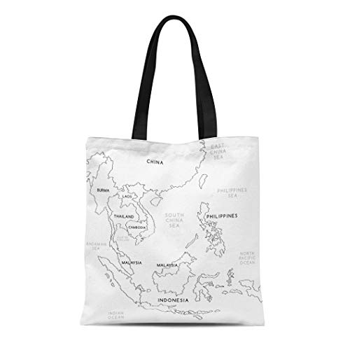 Semtomn Canvas Tote Bag Shoulder Bags China Black Sea South East Asia Map White Line Women's Handle Shoulder Tote Shopper Handbag