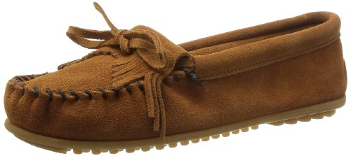 Minnetonka Women's Kilty Suede Moc, Brown, 6 W