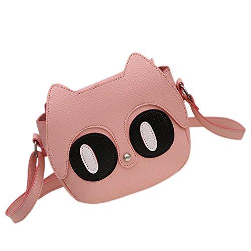 Zantec Nette Karikatur Katze Frauen Tasche klein über Schulter Handtaschen Dame PU Leder Umhängetaschen Baby Mädchen Minitelefon Handtasche Weiß