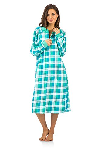 Light Green Long Sleeve Nightgown - Casual Nights Women's Plaid Long Sleeve Zip Up Long Nightgown - Green - Large