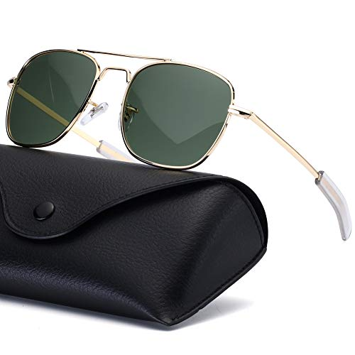 Mens Aviator Sunglasses 55mm Polarized Military Pilot Shades Square Metal Frame with Bayonet Temples for Women Gold Frame Green ()