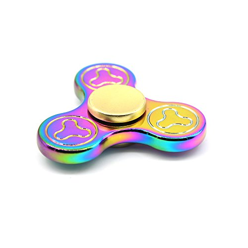 Solomo Tri-Spinner Fidget Hand Spinner Smooth Surface Metal Toy 360 Degree Rotation EDC ADHD Fidget Spinner for Relieves Stress,Anxiety,Relax,Killing Time for Children / Adults - Rainbow