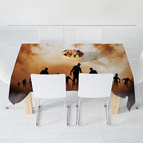 Custom Tablecloth,Halloween Decorations,for Home & Office & Restaurant Table Tea Table,40.2 X 30.3 Inch,Zombies Dead Men Body in The Doom -