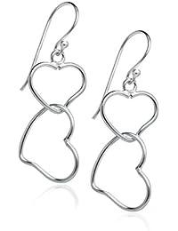 Sterling Silver Interlocking Double Heart Dangle Hook Earrings For Women Teens & Girls - Nine2Five