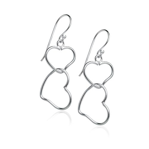 (925 Sterling Silver Double Open Heart Dainty Dangle Hook Earrings | Friendship Boho Delicate Jewelry)