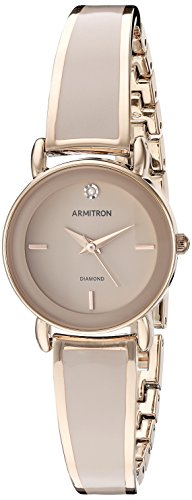 Armitron Women's 75/5363BHRG Diamond-Accented Rose Gold-Tone and Blush Pink Bangle Watch