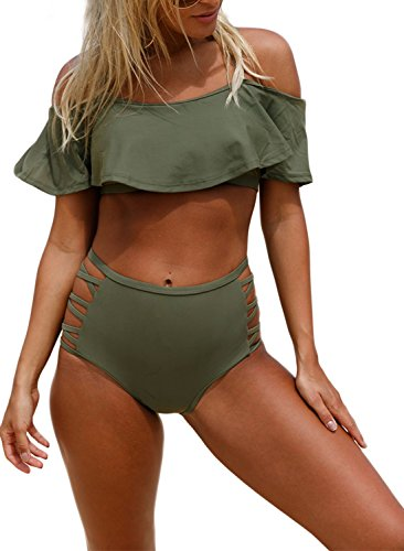 Aleumdr Womens Ruffle Crop Top High-Waisted Padded Bikini Set Swimsuit Off Shoulder Haletr Sexy Swimwear L Size Green