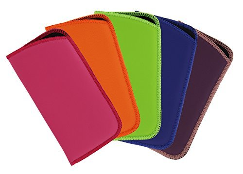 5 Pack Soft Slip In Faux Leather Floating Eyeglass Case For Women & Men, Multi