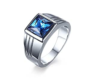 Mens Stainless Steel Blue Square CZ Cubic Zirconia Ring