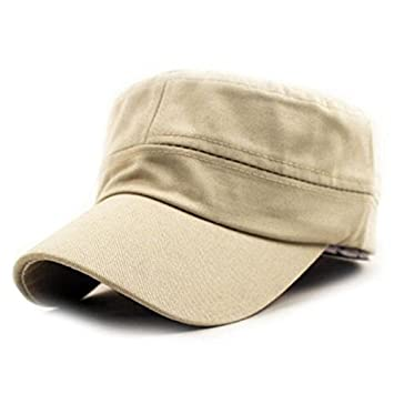 Amazon.com  Gifts For Men ! Charberry Mens Flat Top Hat Classic Plain  Vintage Army Military Cadet Style Cotton Cap Hat Adjustable (Beige)  Baby 76db4328f37