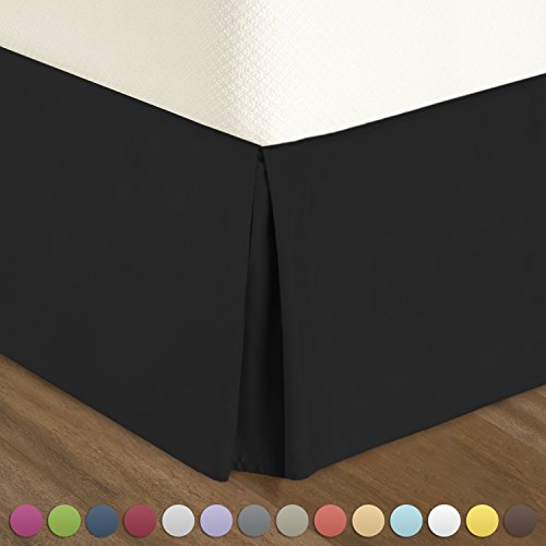 "Pleated Bed-Skirt Full XL Size – Black Luxury Double Brushed 100% Microfiber Dust Ruffle, 14"" inch Tailored Drop, Covers Bed Legs and Frame. By Nestl Bedding - Black Full Bedskirt"