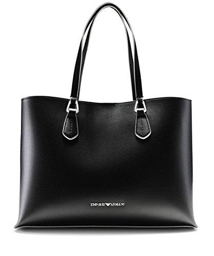 Emporio Armani Women s Faux Leather Contrast Trim Tote Bag Black One Size 585017bbe5b3d