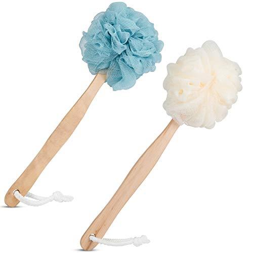 EAONE 2 Pack Loofah Sponge Back Scrubber Long Handled Sponge Mesh Pouf Shower Brushes for Women&Men Bathroom Spa Massage Shower Accessories for Men & Women(Blue&White)