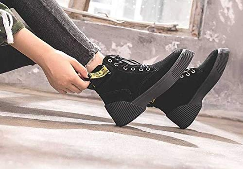 YSFU Stiefel Frauen Martin Stiefel Runde Kappe Kappe Kappe Damen Stiefelies Stiefelie Casual Herbst Winter Outdoor Turnschuhe Schuh Sport Warme Flache Anti Slip Schuhe 97a092