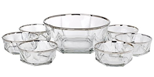 5th Avenue Collection Italian Crystal Dessert Bowls Ice Cream Bowels Silver Band 7 Piece (Collection Crystal Bowl)
