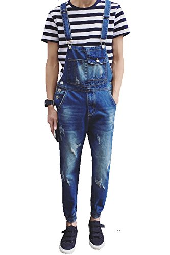 [해외] 남성용 슬림 립 샌들/Denim Men`s Pocket Slim Ripped Ankle Banded Overalls
