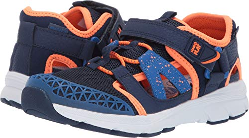 (Stride Rite Made2play Nesta Boy's/Girls Machine Washable Sandal, Navy/Orange, 13.5 W US Little Kid)