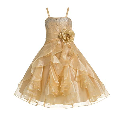 ekidsbridal Shimmering Organza Rhinestones Junior Flower Girl Dress Holy Communion J120NF 6 Gold -