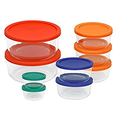 Pyrex 1110141 18pc Glass Food Storage with Multi-colored Lids