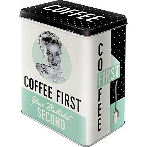 Nostalgic-Art 30146 Say it 50's - Coffee First, Storage Tin L (Vintage 50s Canisters)