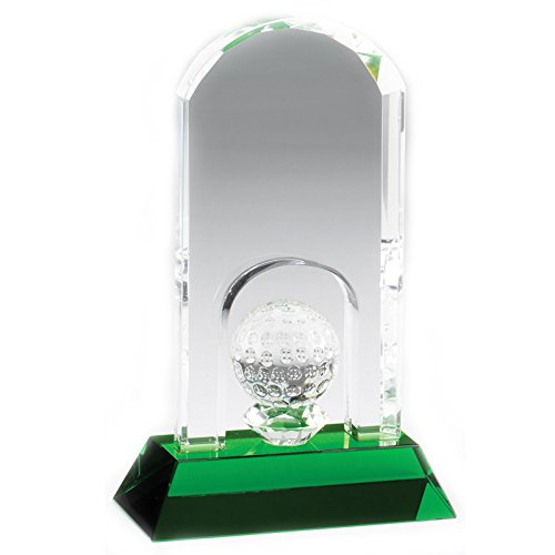 Crystal Golf Tower Award (Customizable 7 x 4-1/4 Inch Arched Golf Tower with Ball Optical Crystal Award on Green Base, Includes Personalization)