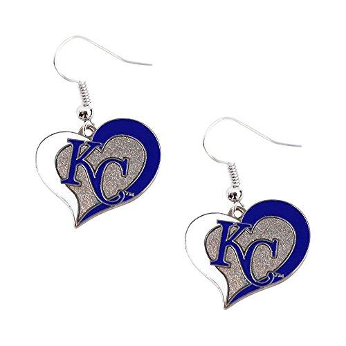 Kansas City Royals Charm - aminco Kansas City Royals KC MLB Swirl Heart Dangle Logo Earring Set