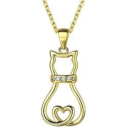 arete de plata de ley 925 con diseño de gato y corazón, con circonita cúbica
