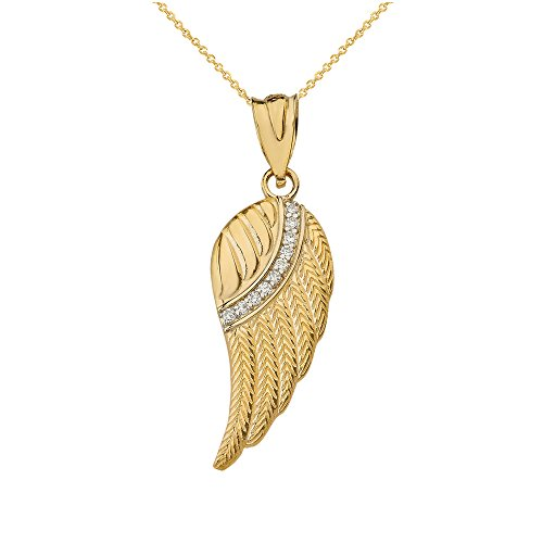 - 14k Yellow Gold Diamond Feather Angel Wing Diamond Pendant Necklace - Small, 22